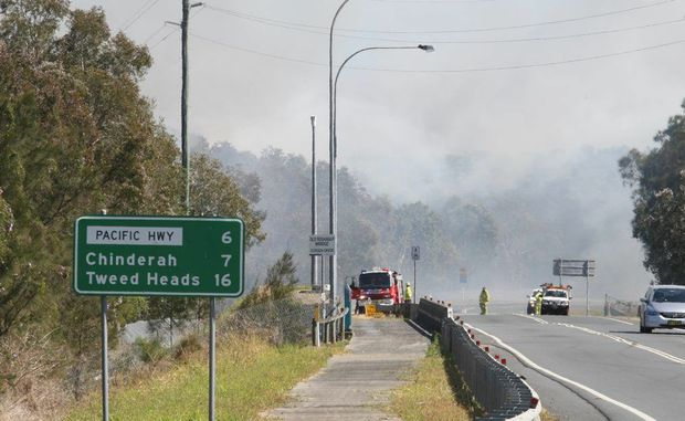 The bushfire on Tweed Coast Road at Cudgen. Photo: Blainey Woodham / Daily News