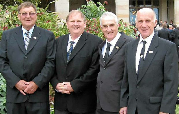 L-R: Neil McLennan, Andrew Vickers (Mineworkers Trust chairman), Ian Carter and Trevor McLennan at Government House, Sydney.