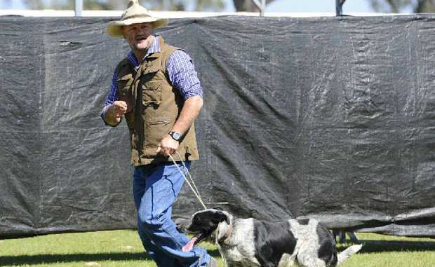 Mitch Davis and Rango after competing in the dog trials at Maclean on Saturday.