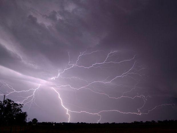 Lightning strikes over Pittsworth