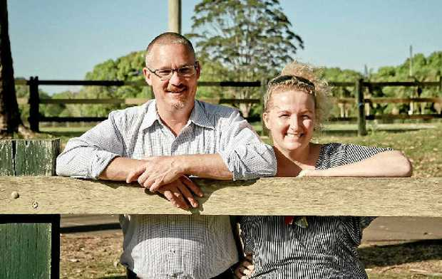 SAVOUR SAVIOUR: Dean Power, from Community Engine, and Remy Tancred, from the Sample Food Festival, at Bangalow Showground, where the festival will be held next month.