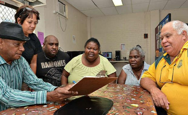 Jeff Timor (left), Sonetta Fewquandie, Lewis Lammon, Alisa Lammon, Phyllis Kris and Arnold Doyle are upset about the closure of Mackay's Murri Court.