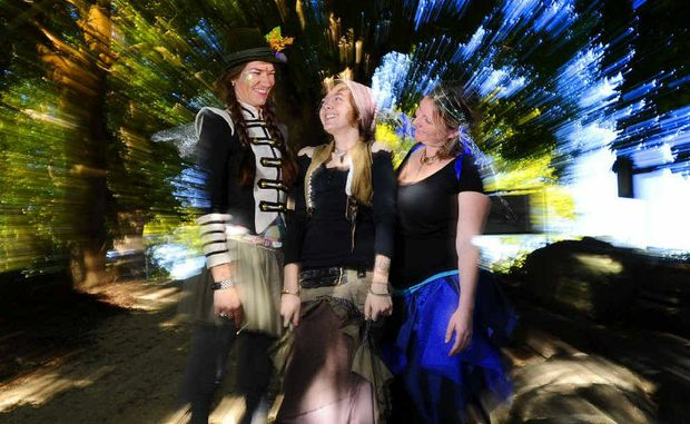 Natalie 'Meenatti' Petty, Frankie Stone and Kellie Boulton in faerie mode in preparation for today.