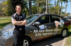 North Jacklin marketing manager Brad Doolan with the Nissan Almera that a lucky Daily Mercury reader can win.