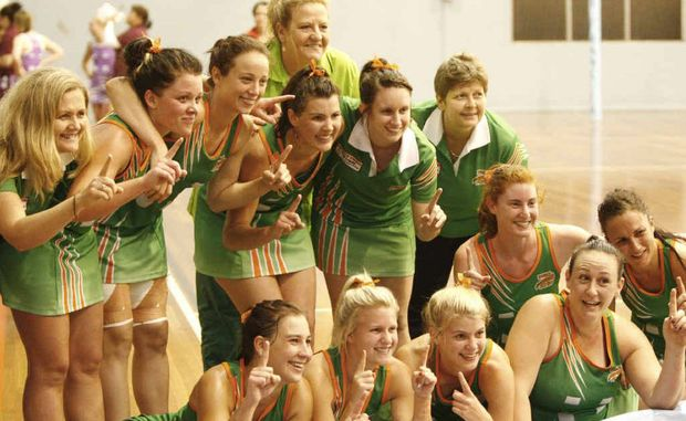 The Ipswich Flyers celebrate their state tier three grand final win over Logan City, 40-38 on Friday night at the state netball centre, Mt Gravatt.