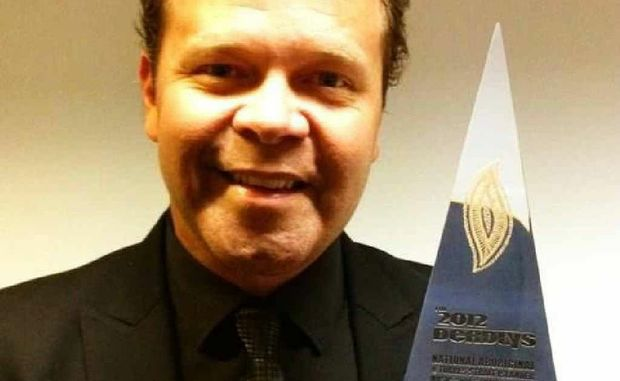 Troy Cassar-Daley celebrates winning the Deadly Award for Album of the Year on Tuesday.