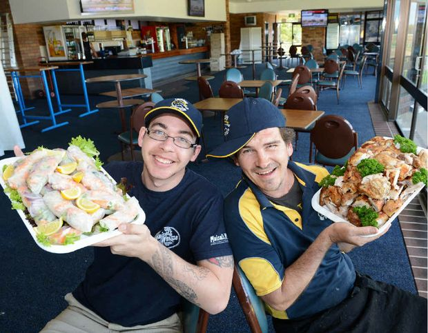 Preparing for the crowd at the Lismore Cup are chefs Shane Davis and catering manager Todd McDonald.