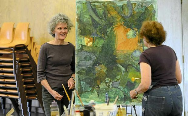 Tutor Judith White teaches the Mixed Media course at Fay Boyd's Fine Art School held at Grafton High.