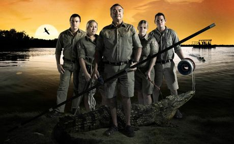 The cast of the TV series The Croc Catchers NT, from left, Joey Buckerfield, Danielle Best, Tommy Nichols, Rachel Pearce and Robbie Risk.