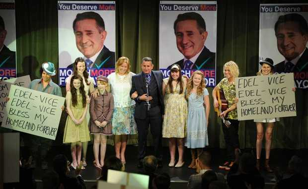 Rebecca Gibney and Anthony LaPaglia, centre, and Deborah Mailman pictured far left in a scene from the movie Mental. Supplied by UPI Media.