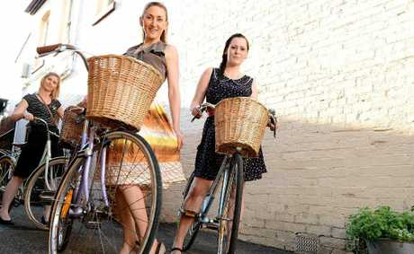 Caroline Cavanagh (centre), Megan Peace (back) and Natalie Wallace (right) will be participating in the Babes on Bikes event on October 14.