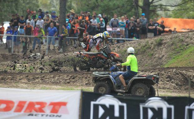 Australian Junior Motocross championship's at Coolum Pines MX Track, tuesday. Mooloolah's Zak Brown get thrown of the bike in the mud. Photo: Cade Mooney / Sunshine Coast Daily