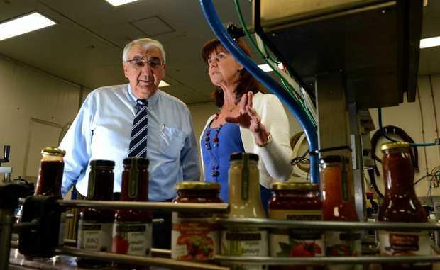 Thomas George visits Anni Brownjohn at the right food group. Photo: John Gass / Daily News