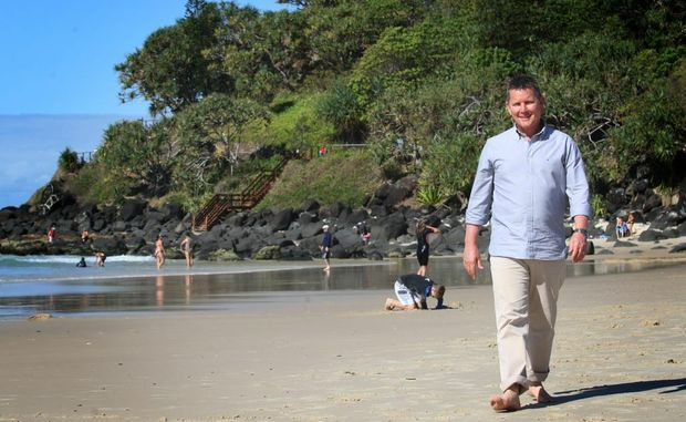 Tom Burlinson enjoying the beach at Greenmount.