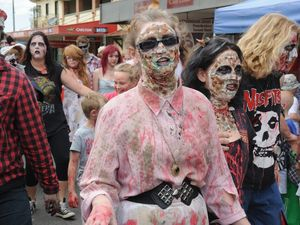 Zombies flooded to the Heritage City markets yesterday in search of brains. Photo: Megan Pope / Fraser Coast Chronicle