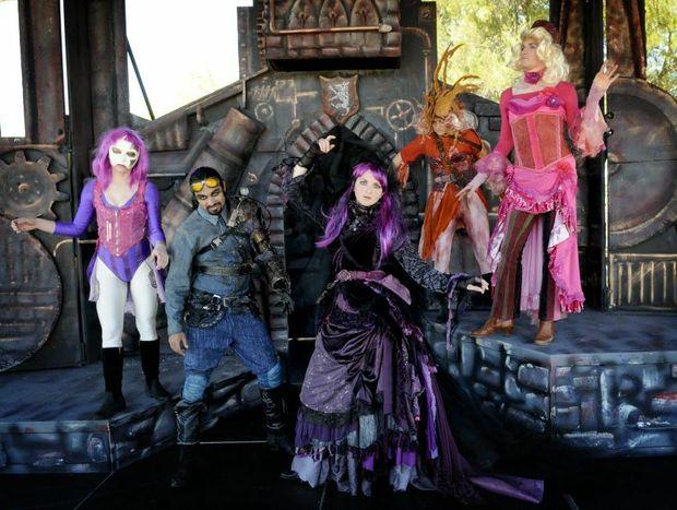 Preparing for the USQ Shakespeare in the Park festival performance of Richard III are (from left) Melinda Reed, Shannon Haegler, Sage Rose Buchalter, Patrick Dwyer, Melinda Reed and Ell Sachs.