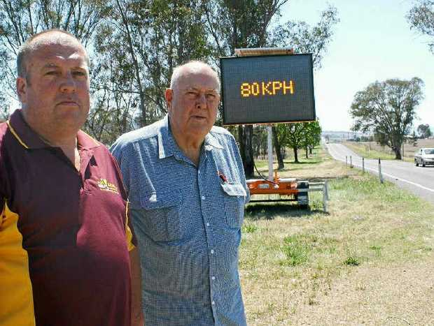 Warwick Road Safety committee secretary Andrew Gale and president Graham Buchner are pleased by the 80kmh limit.