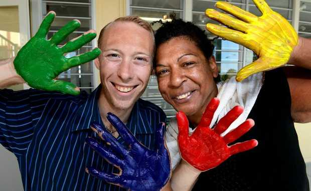 Nathan Joyce and Venicia Soloman. Volunteers for mental health day. Photo: John Gass / Daily News