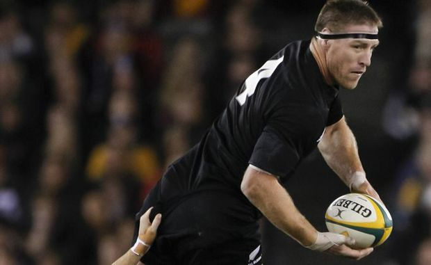 Brad Thorn playing for the New Zealand All Blacks in the Bledisloe Cup, Rugby Union Test Match against the Qantas Australian Wallabies.