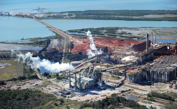 An aerial view of Queensland Alumina Limited in Gladstone.