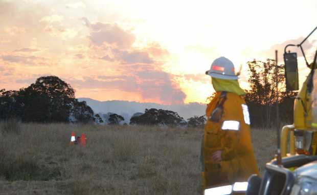 Rural firefighters on the scene of the blaze at Dalveen.