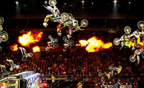 BOMBS AWAY: Riders complete the Nitro Bomb at a previous show, where 18 riders are simultaneously up-side-down.