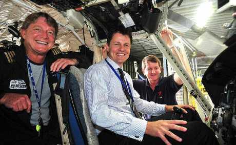 Senior pilot Brendon Barron (left), CEO Mark Shield (centre