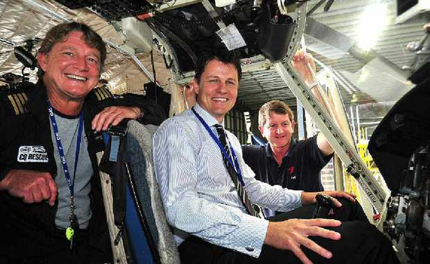 Senior pilot Brendon Barron (left), CEO Mark Shield (centre) and senior engineer Dave Jibson at the RACQ-CQ Rescue hanger for the Rescue 100 breakfast.