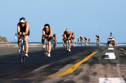 Cylists on the Hamilton Island Triathlon trail.