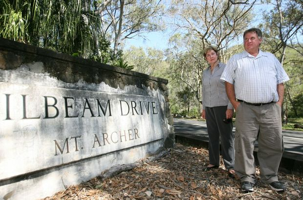 Councilors Glenda Mather and Neil Fisher at the start of Pilbeam Drive which has been at the centre of a dispute. Photo: Chris Ison / The Morning Bulletin
