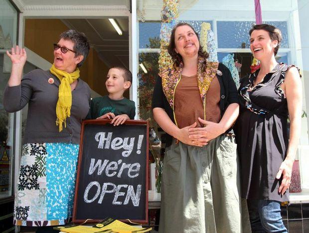 Helle Jorgensen, Ari Messina, Julia Barron and Belinda Smith enjoyed the latest pop-up shop in Murwillumbah. Photo: Emma Galliott / Daily News