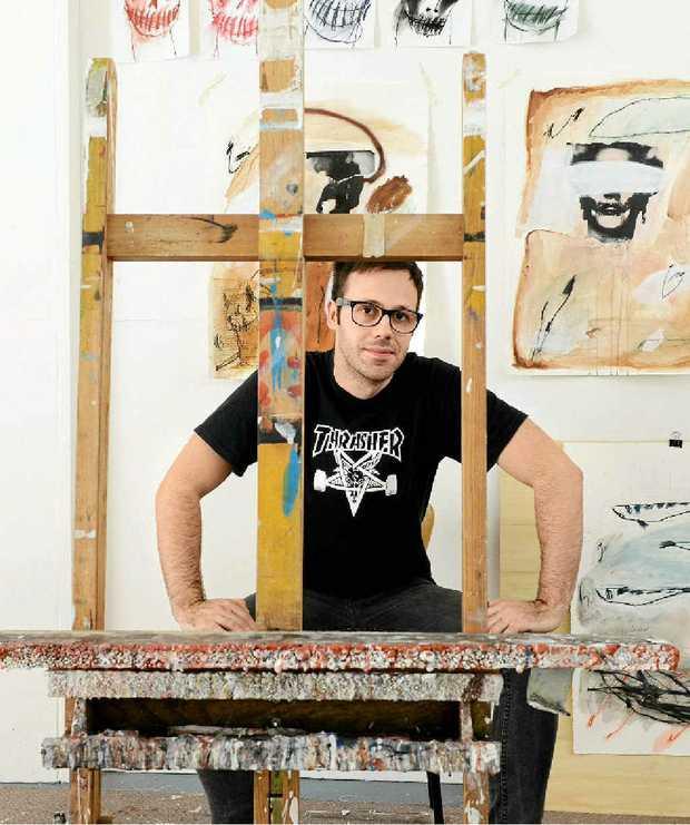Lismore artist Vitor Dos Santos pictured in his personal studio.