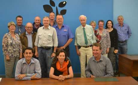 Queensland Local Government Minister David Crisafulli (seated left) held a meeting in Mitchell yesterday to tell Booringa and Warroo de-amalgamation committees why they were unsuccessful. Maranoa Mayor Rob Loughnan (seated right) and council reps were also in attendance.