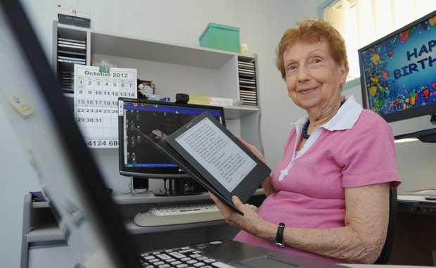 Marie McDonald - 83 yr old tech savvy senior. Uses a PC, a laptop and a Kindle. Photo: Alistair Brightman / Fraser Coast Chronicle