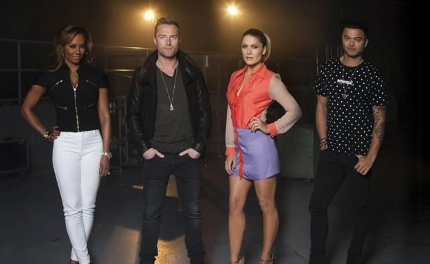 The X Factor Australia judges, from left, Mel B, Ronan Keating, Natalie Bassingthwaighte and Guy Sebastian.