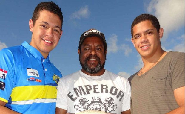 North Queensland rugby league legend Ray Gagai, centre, at Shark Park with his sons Jacob, left, and Dane, both of whom will be on the Knights pay roll soon.