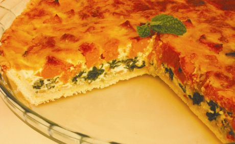 Roasted pumpkin and spinach pie