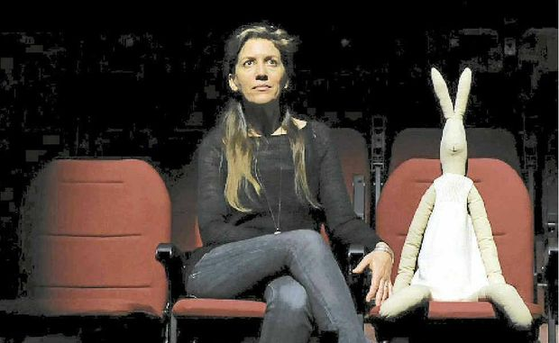 IN THE SPOTLIGHT: Gyan and rabbit friend wait in the Community Centre theatre for Michael Leunig to arrive for their music, art and movement show together on Tuesday.