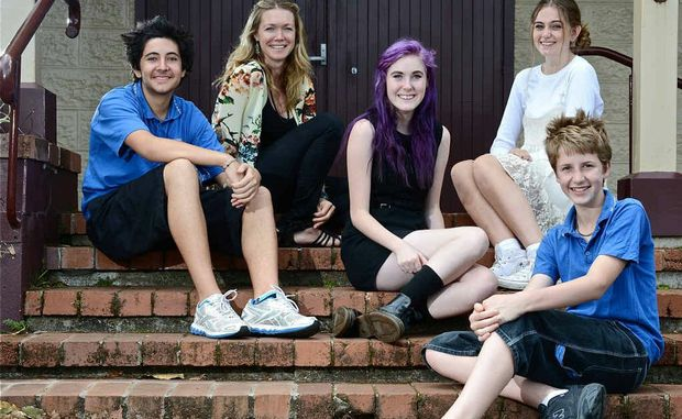 STEPPING OUT: Zion Maher, 14 of Mullumbimby High School, Amie Dreyer adolescent counsellor, Isabelle Henning, 15 of Byron Bay High School, Bella McFayden, 16 of Byron Bay High School and Griffin Bennett-Wise, 13 of Mullumbimby High School at Bangalow A&I; Hall.