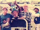 Nicole Trevethan (nee Duncan) as a teenager with her brother Steve at left at Ooralea racecourse in 1997/98. They are congratulating winning horse Lights of Joy and jockey Rusty Saron.