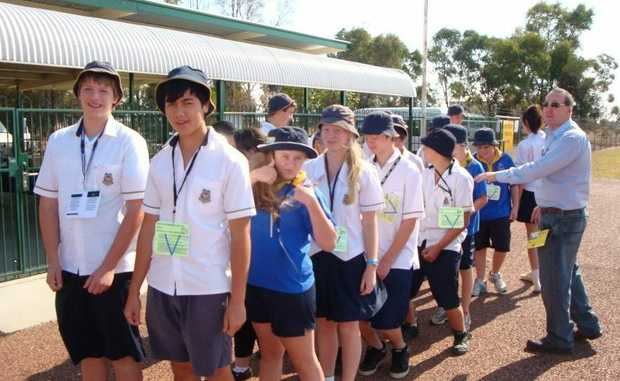 Blackall students at mock plane crash.