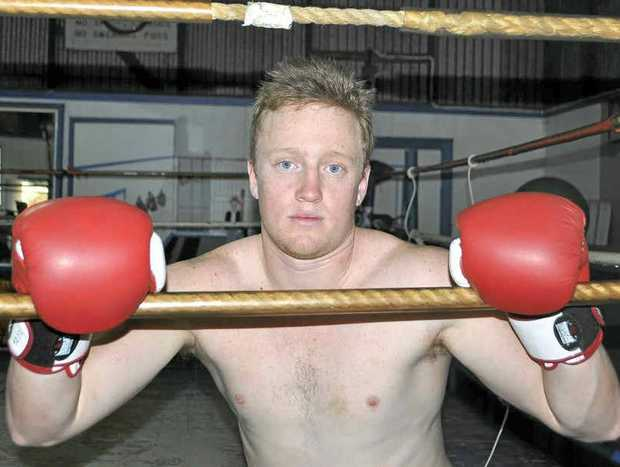 STAR BOXER: Shane Parry at a training session at the Warwick Boxing Club gym.