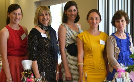 SALUTE: Rabobank ladies Sarah Barron, Gen McAulay, Naiomi Clark, Bec Mickelborough and Madonna Moroney celebrating International Rural Women's Day at a ladies lunch on Tuesday.
