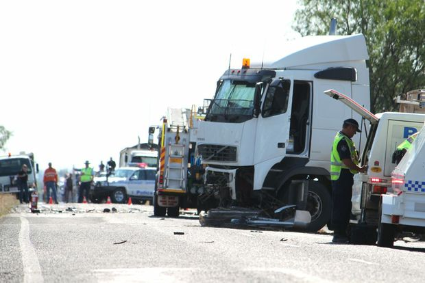The truck involved in the double fatality on the Capricorn Hwy. Photo Simon Green / CQ News