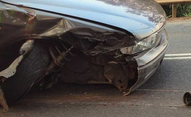 The damage on the Mitsubishi Magna involved in the collision.