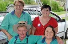 SIZZLING: Lions volunteers (back, from left) Ros Keim, Clare Jeffries, (front) Cec Watts and Raelene Krause ran the sausage sizzle.
