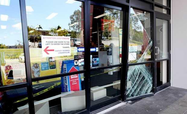 Ram raid at Harvey Norman Loganholme on Sunday night. Photo: Inga Williams / The Reporter