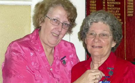 QCWA Border Division president Jenny Whitsed with our region's country woman of the year entrant Rosemary Peterson.