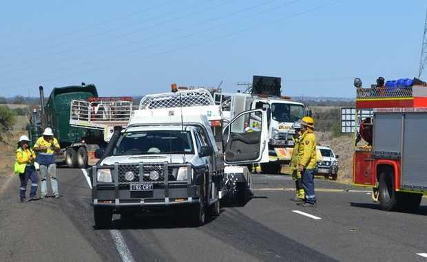 THE whit ute, which flipped over during the accident, is loaded onto the back of a tow truck.