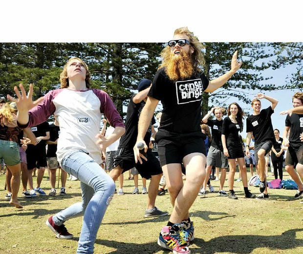 NATURAL RHYTHM: Dancing man Tommy Franklin shared a few of his moves with teenagers at the Cringe the Binge launch in Byron Bay – Full report, Page 3.